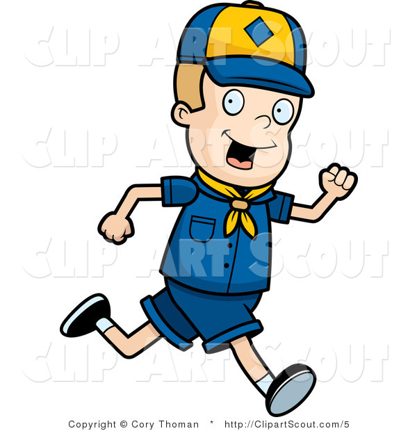 Clipart of a Blond Cub Scout Boy Running