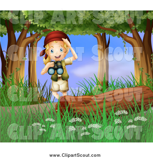 Clipart of a Blond Excited Scout Explorer Girl with Binoculars in the Woods