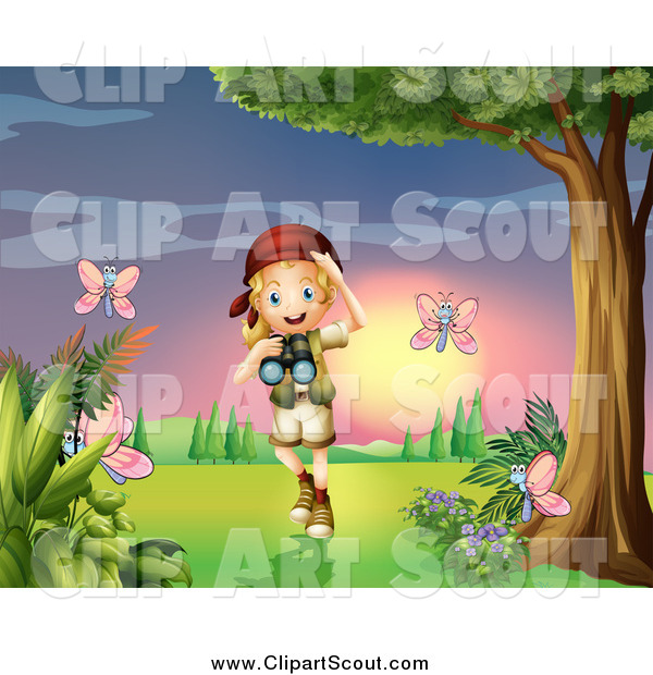 Clipart of a Blond Scout Explorer Girl Watching Butterflies at Sunset