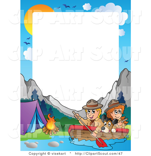 Clipart of a Boating Scouts by a Campground Frame and Wilderness Border