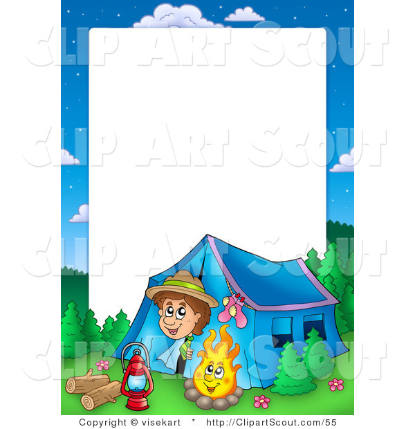 Clipart of a Boy Camping Border Frame Around White Space for Text