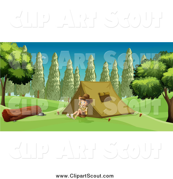 Clipart of a Boy Explorer Smiling and Sitting by a Tent