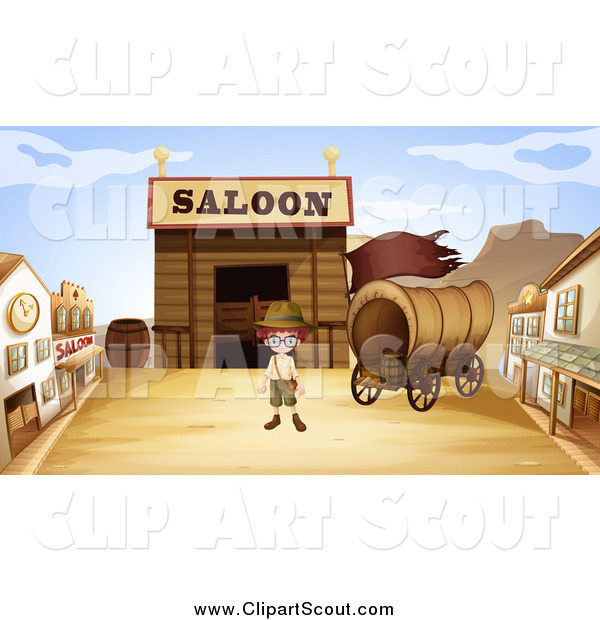 Clipart of a Boy in a Ghost Town