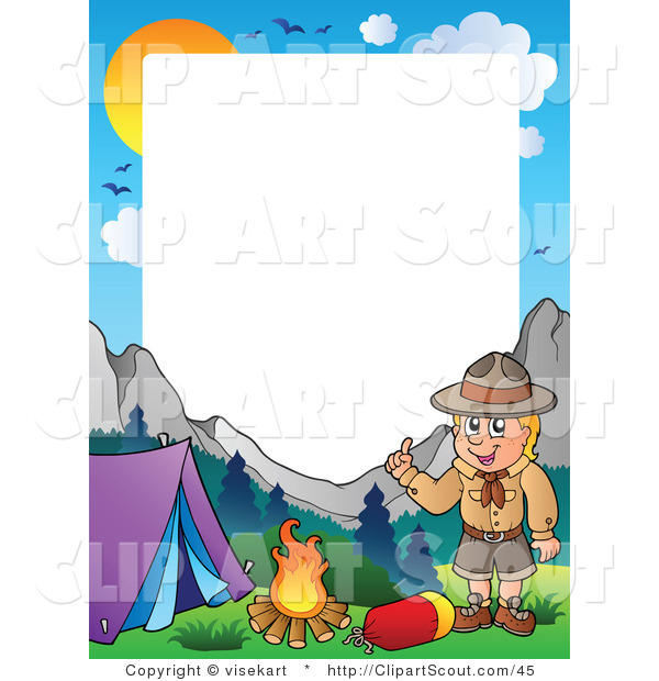 Clipart of a Boy Scout Camping Frame