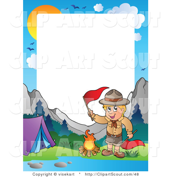 Clipart of a Boy Scout Camping in the Wilderness Border