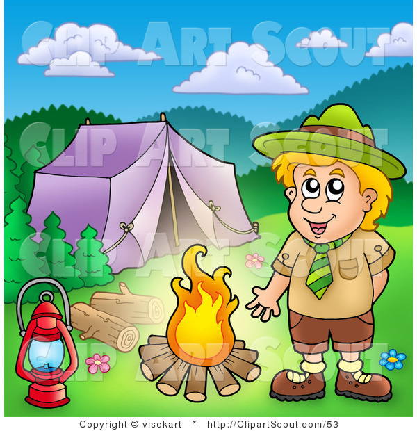 Clipart of a Boy Scout Keeping Warm by a Campfire