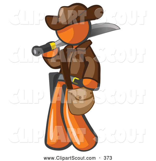 Clipart of a Brave Orange Explorer Man Carrying a Machete