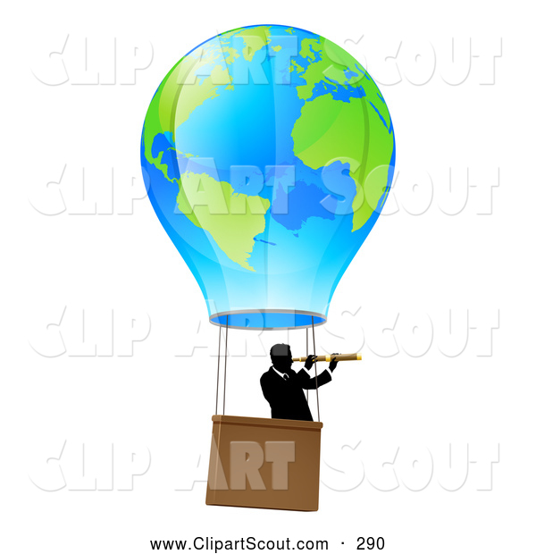 Clipart of a Businessman Viewing Through a Spyglass in a Travelling Hot Air Balloon