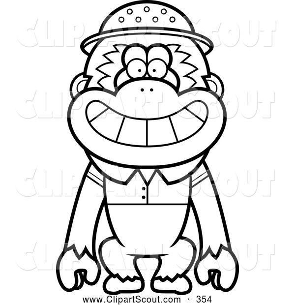 Clipart of a Cartoon Black and White Gibbon Monkey Explorer