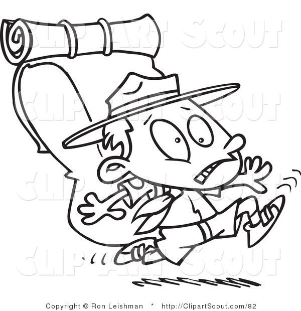 Clipart of a Cartoon Black and White Outline Design Coloring Page of a Boy Scout Running with a Big Back Pack