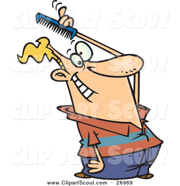 Clipart of a Cartoon Blond White Man Combing His Hair