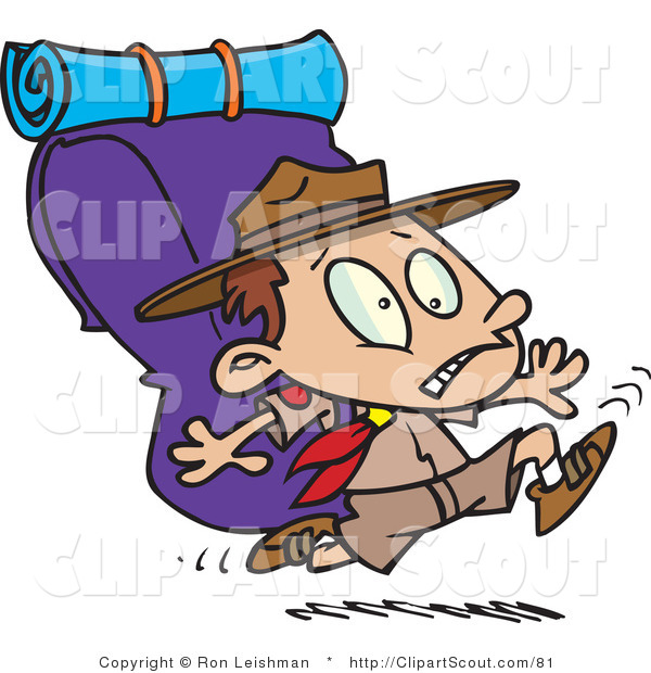 Clipart of a Cartoon Boy Scout Running with a Big Pack on His Back