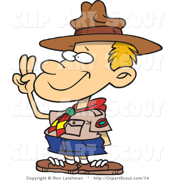Clipart of a Cartoon Boy Scout Taking an Oath and Holding up His Fingers