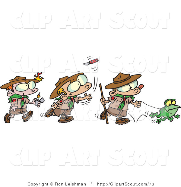 Clipart of a Cartoon Group of Boy Scouts Playing Outdoors