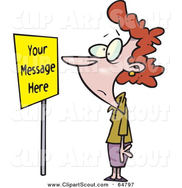 Clipart of a Cartoon Red Haired Caucasian Woman Staring at a Sign with Sample Text