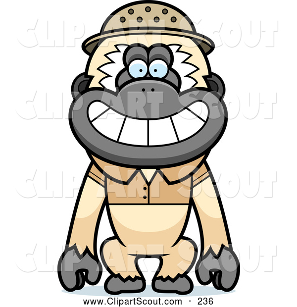 Clipart of a Cheerful Gibbon Monkey Explorer