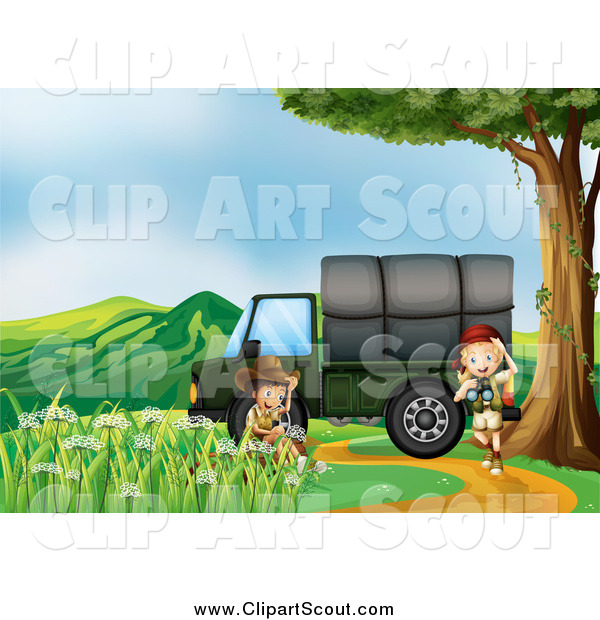 Clipart of a Children Exploring near a Cargo Truck 2 and Mountains