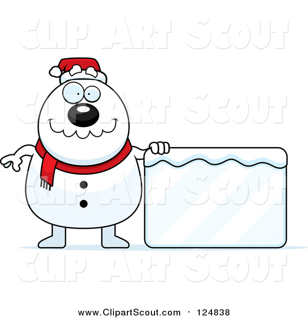Clipart of a Christmas Snowman with a Frozen Sign