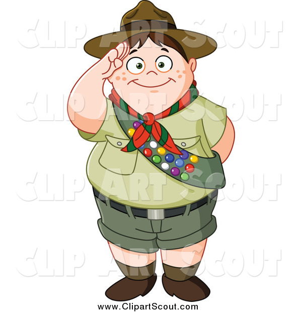 Clipart of a Chubby Scout Boy Saluting