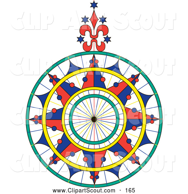 Clipart of a Colorful Ornate Compass Rose over White