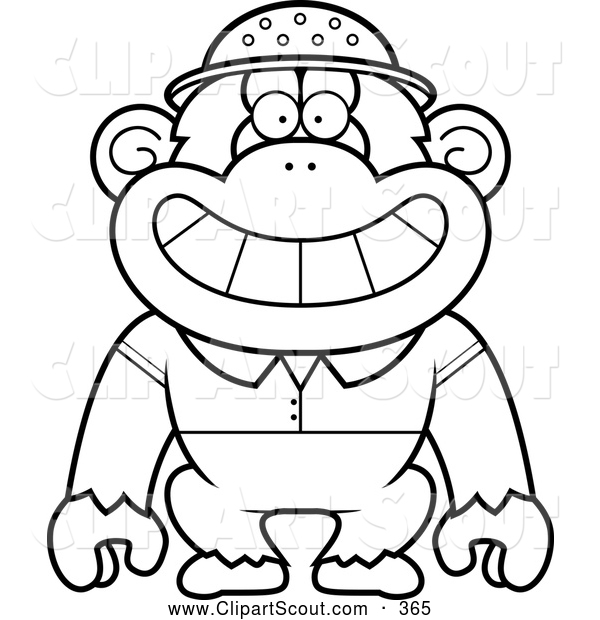 Clipart of a Coloring Page Black and White Chimpanzee Explorer