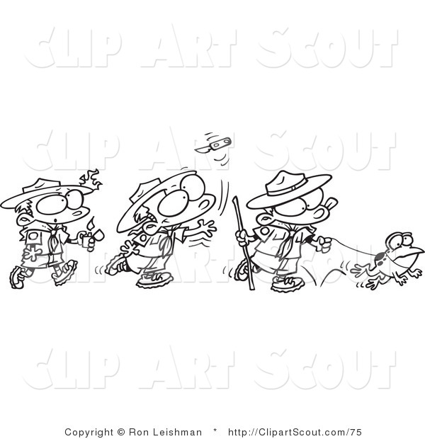 Clipart of a Coloring Page Design of a Group of Boy Scouts Outdoors