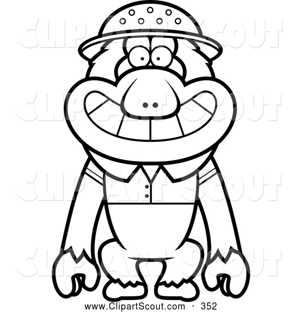 Clipart of a Coloring Page of a Black and White Macaque Monkey Explorer
