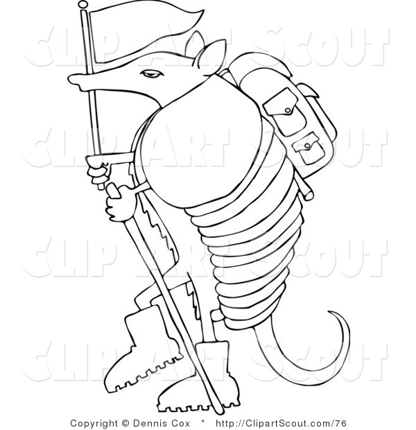 Clipart of a Coloring Page of a Hiker Armadillo with a Flag and Stick