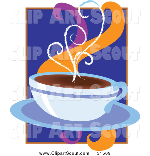 Clipart of a Cup of Hot Coffee on a Saucer