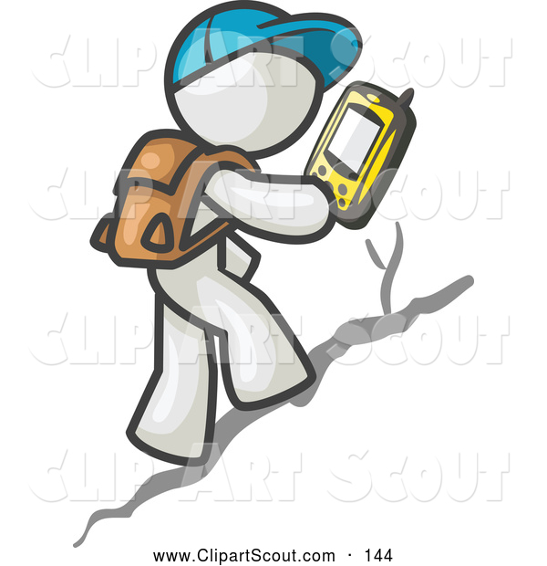 Clipart of a Curious Geocaching White Man Hiker Using a Gps Device