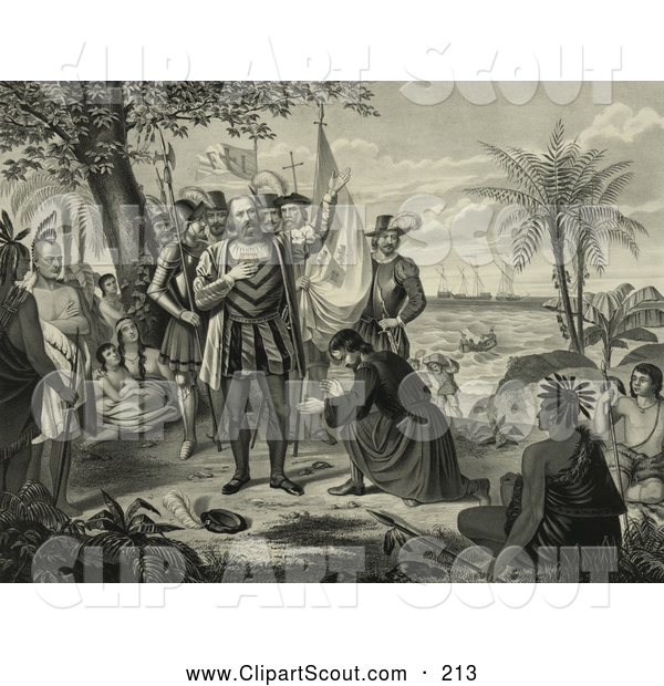Clipart of a Curious Natives Watching a Man Kneeling and Bowing to Christopher Columbus and His Men upon Landing in the New World - Artwork