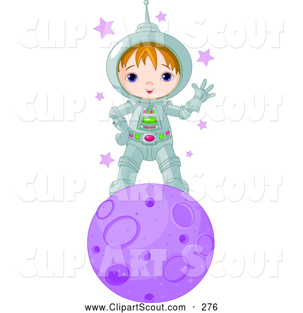 Clipart of a Cute and Friendly Astronaut Boy Waving and Standing on a Purple Planet