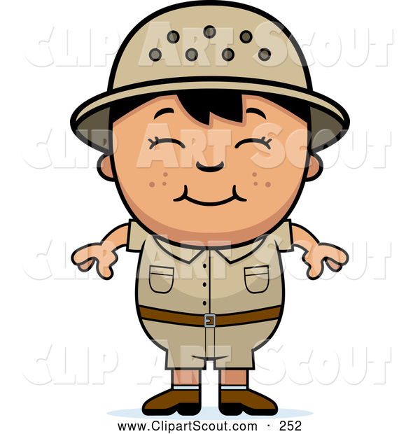 Clipart of a Cute and Happy Asian Safari Boy