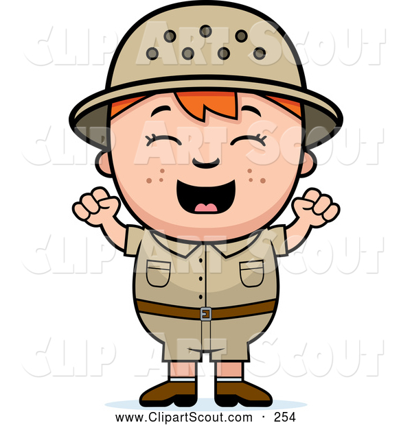 Clipart of a Cute and Happy Red Haired Safari Boy Cheering