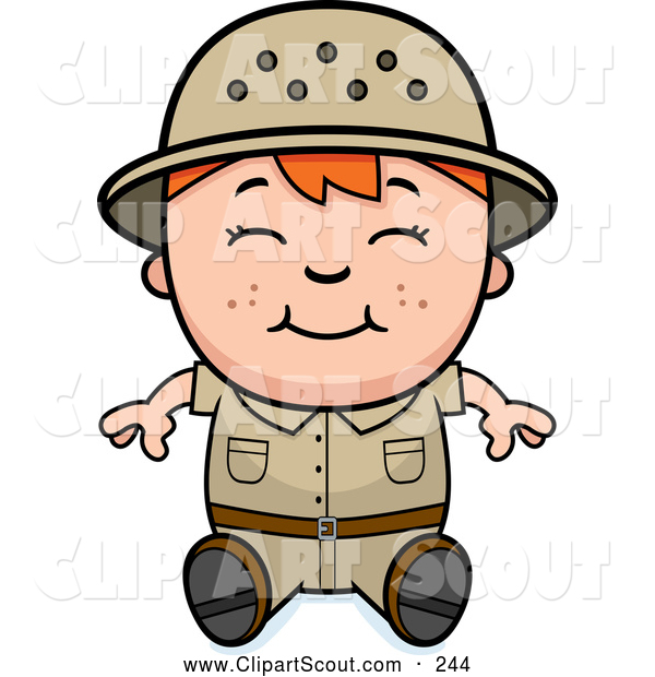 Clipart of a Cute and Happy Red Haired Safari Boy Sitting