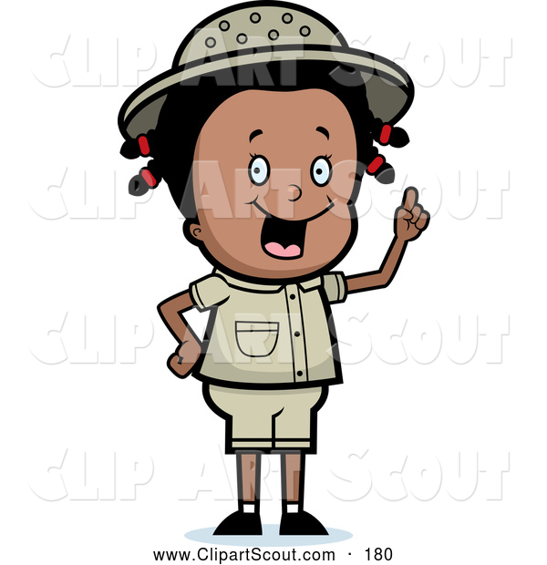 Clipart of a Cute and Smart Black Safari Girl Holding up Her Finger and Expressing an Idea