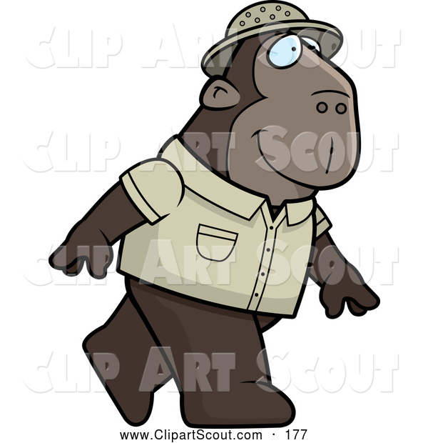 Clipart of a Cute Ape Explorer Walking on His Hind Legs