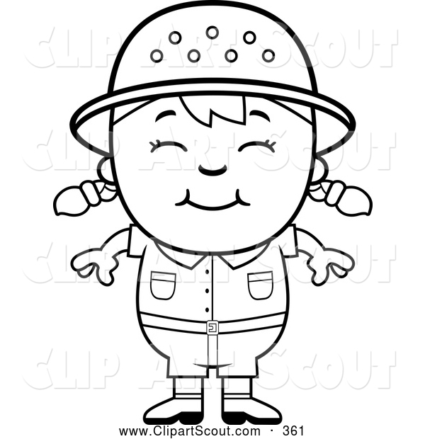 Clipart of a Cute Black and White Happy Safari Girl