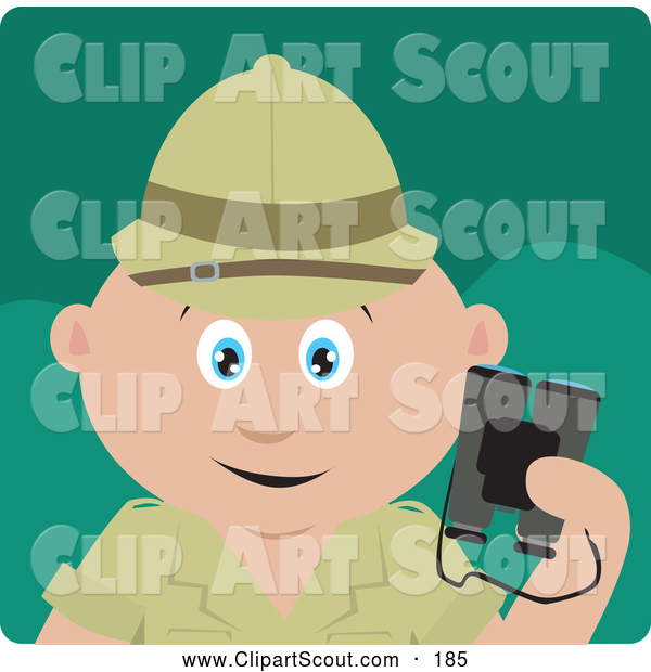 Clipart of a Cute Caucasian Explorer Holding Binoculars on a Safari