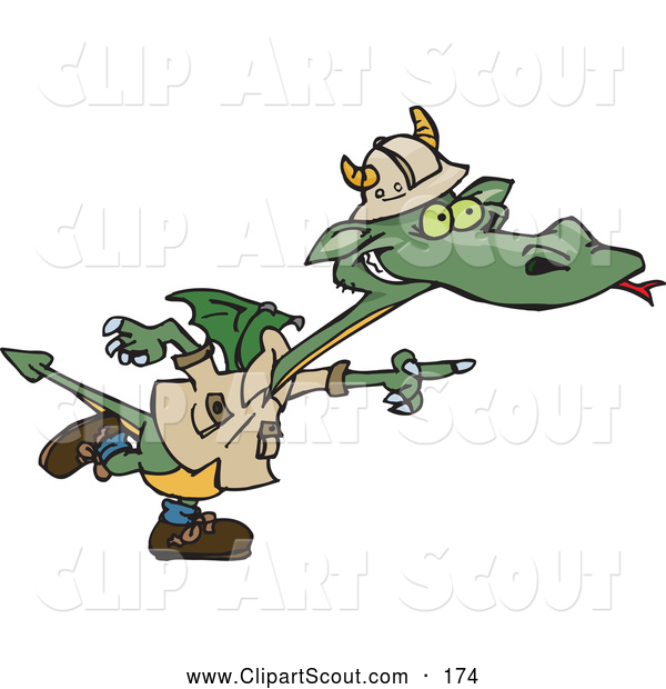 Clipart of a Cute Green Explorer Dragon Pointing to the Right