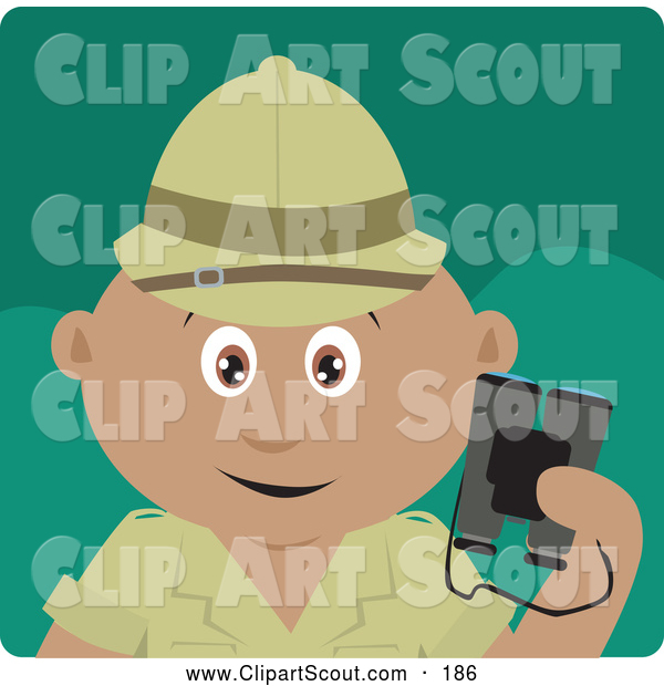 Clipart of a Cute Hispanic Explorer Holding Binoculars on a Safari