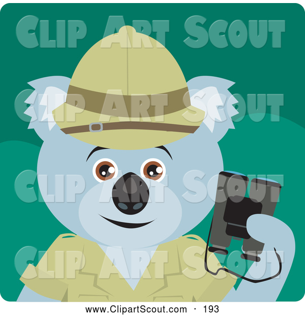 Clipart of a Cute Koala Bear Explorer Character