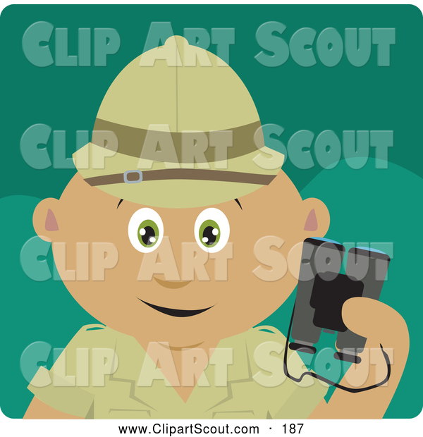 Clipart of a Cute Latin American Explorer Holding Binoculars on a Safari