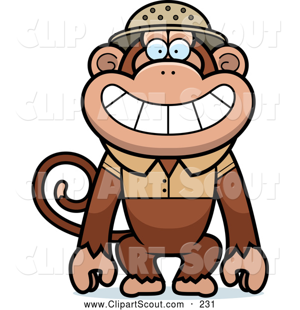Clipart of a Cute Monkey Explorer