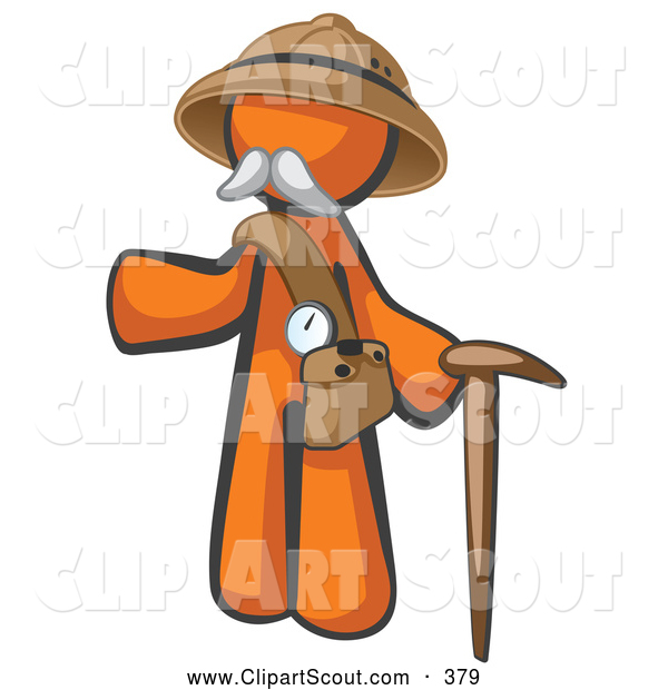 Clipart of a Cute Orange Man Explorer with a Pack and Cane
