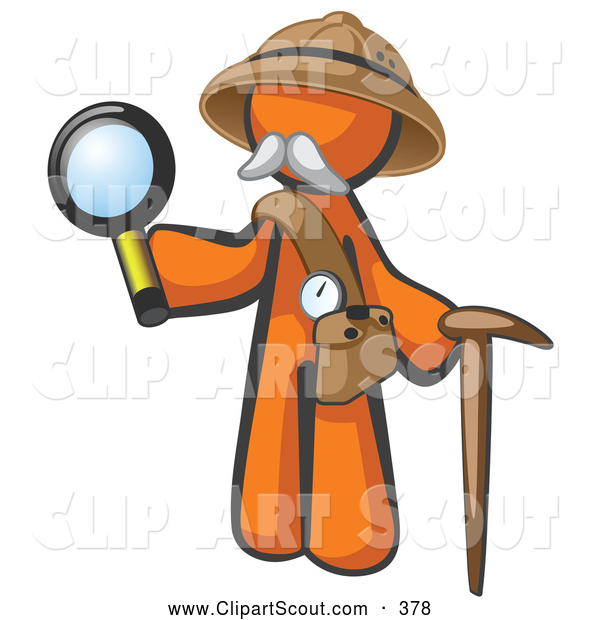 Clipart of a Cute Orange Man Explorer with a Pack Cane and Magnifying Glass