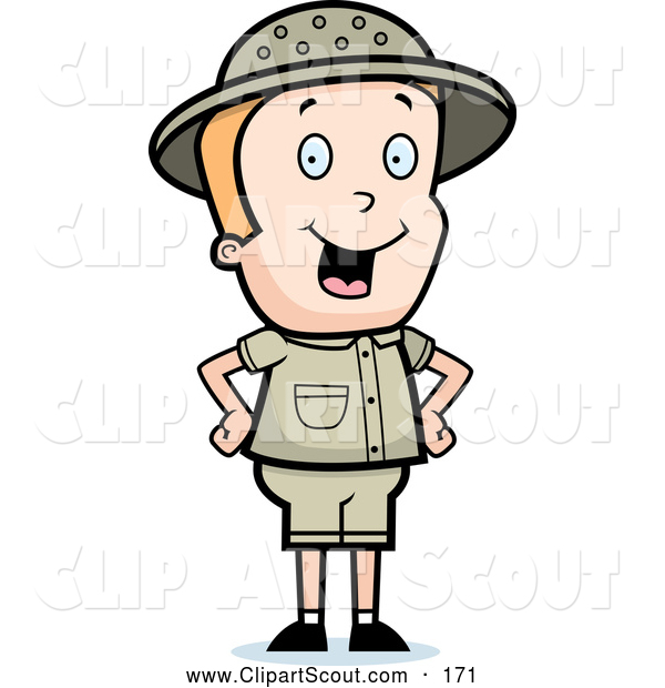 Clipart of a Cute Safari Boy Standing with His Hands on His Hips