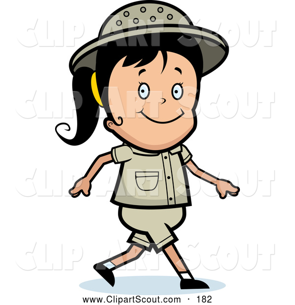 Clipart of a Cute Safari Girl Smiling and Walking