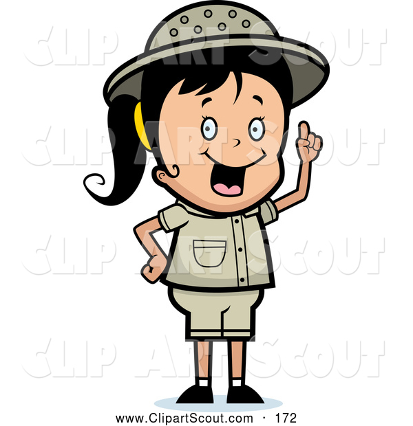 Clipart of a Cute Safari Girl with an Idea