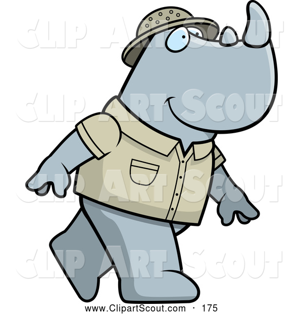 Clipart of a Cute Safari Rhino Walking on His Hind Legs